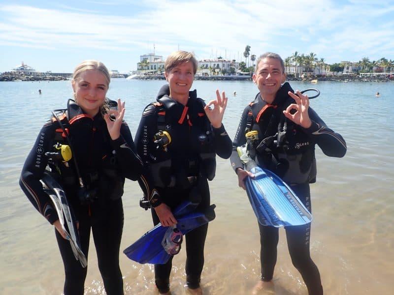 Kristine blev certificeret dykker på Gran Canaria